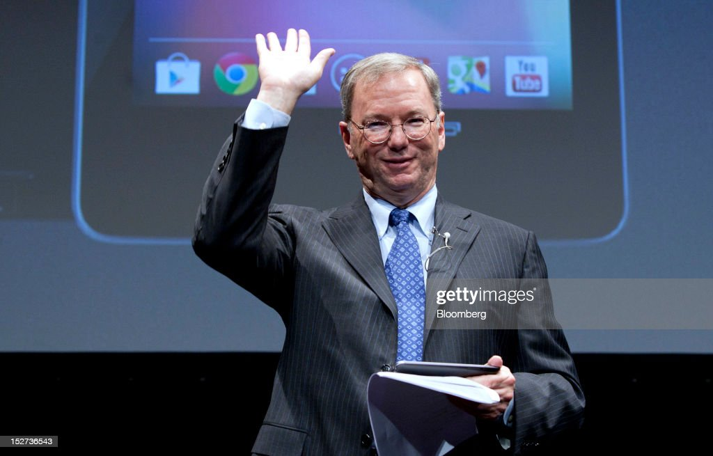 <a gi-track='captionPersonalityLinkClicked' href=/galleries/search?phrase=Eric+Schmidt&family=editorial&specificpeople=5515021 ng-click='$event.stopPropagation()'>Eric Schmidt</a>, executive chairman of Google Inc., waves as he leaves a news conference in Tokyo, Japan, on Tuesday, Sept. 25, 2012. Google said it will sell its Nexus 7 handheld computers in Japan, where annual shipments of tablet devices may triple to 11 million units in five years. Photographer: Tomohiro Ohsumi/Bloomberg via Getty Images
