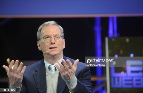 Eric Schmidt executive chairman of Google speaks at LeWeb Paris 2011 at Le 104 on December 7 2011 in Paris France Since beginning in 2008 LeWeb Paris...