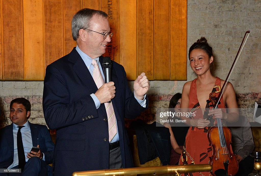 Eric Schmidt speaks at the book launch party for 'How Google Works' by Eric Schmidt and Jonathan Rosenberg hosted by Jamie Reuben at The Chiltern...
