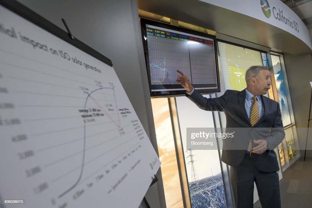 Eric Schmitt, vice president of operations for the California Independent System Operator (ISO), speaks at a press conference during the solar eclipse at ISO headquarters in Folsom, California, U.S., on Monday, Aug. 21, 2017. Millions of Americans across a 70-mile-wide (113-kilometer) corridor from Oregon to South Carolina will see the sky darken as the sun disappears from view total during the eclipse. Photographer: David Paul Morris/Bloomberg via Getty Images