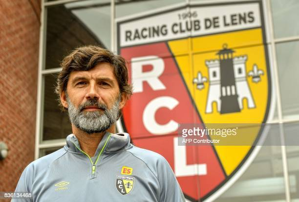 Eric Sikora a former defender at RC Lens football club poses after a press conference on August 21 2017 at Lens' Gaillette Sport and Technical center...