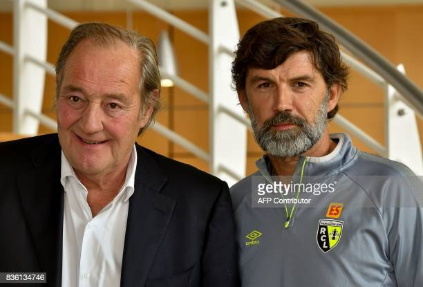 Eric Sikora a former defender at RC Lens football club poses after a press conference with the club's president Gervais Martel on August 21 2017 at...