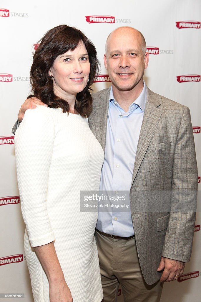 Eric Simonson with wife attend the after party for the opening night of the 'Bronx Bombers' at West Bank Cafe on October 8, 2013 in New York City.