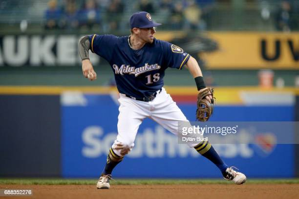 Eric Sogard of the Milwaukee Brewers throws to first base in the ninth inning against the Toronto Blue Jays at Miller Park on May 24 2017 in...