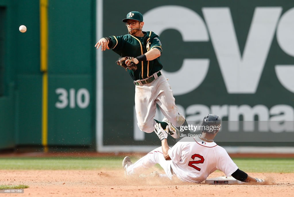<a gi-track='captionPersonalityLinkClicked' href=/galleries/search?phrase=Eric+Sogard&family=editorial&specificpeople=6796459 ng-click='$event.stopPropagation()'>Eric Sogard</a> #28 of the Oakland Athletics completes a double play as <a gi-track='captionPersonalityLinkClicked' href=/galleries/search?phrase=Xander+Bogaerts&family=editorial&specificpeople=9461957 ng-click='$event.stopPropagation()'>Xander Bogaerts</a> #2 of the Boston Red Sox slides late in to second base in the ninth inning on a ball hit by Jonny Gomes at Fenway Park on May 4, 2014 in Boston, Massachusetts.