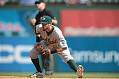 Eric Sogard of the Oakland Athletics in action in the fifth inning against the Texas Rangersat Globe Life Park in Arlington on September 28 2014 in...