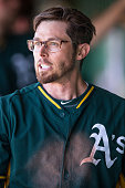 Eric Sogard of the Oakland Athletics looks on during a spring training game against the San Francisco Giants at Scottsdale Stadium on March 4 2015 in...