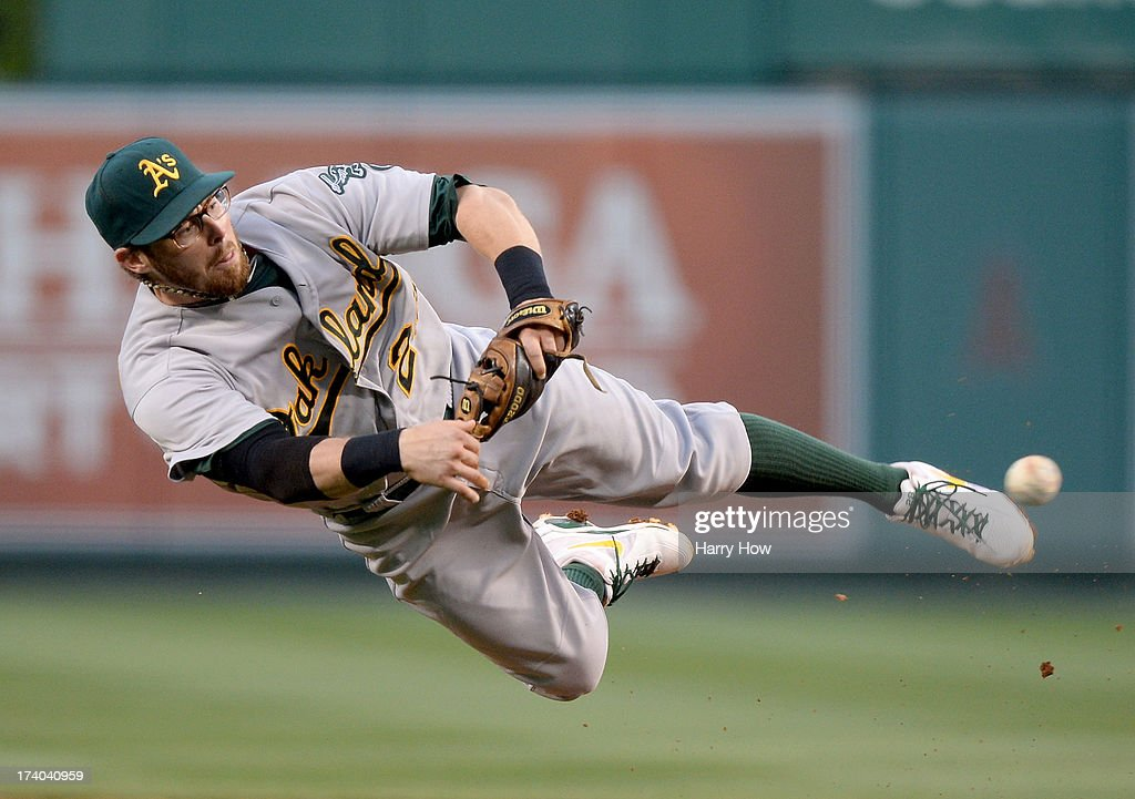 <a gi-track='captionPersonalityLinkClicked' href=/galleries/search?phrase=Eric+Sogard&family=editorial&specificpeople=6796459 ng-click='$event.stopPropagation()'>Eric Sogard</a> #28 of the Oakland Athletics makes a throw to first for an out of Chris Iannetta #17 of the Los Angeles Angels to end the second inning at Angel Stadium of Anaheim on July 19, 2013 in Anaheim, California.