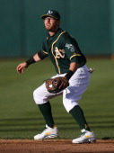 Eric Sogard of the Oakland Athletics plays defense at second base against the Washington Nationals during the game at Oco Coliseum on Saturday May 10...