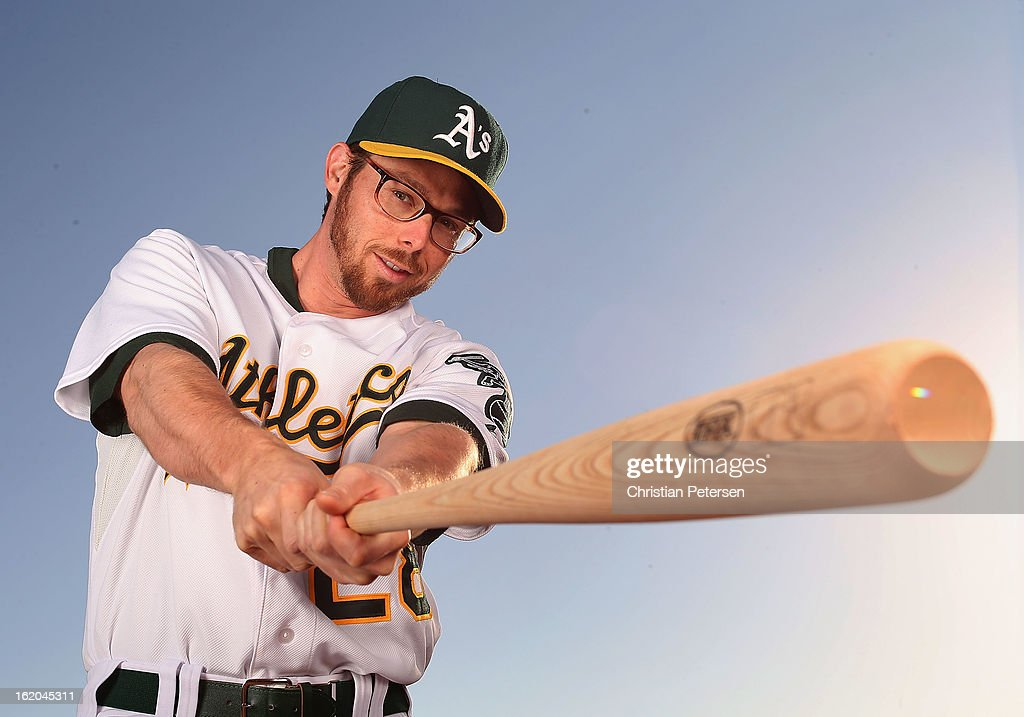 <a gi-track='captionPersonalityLinkClicked' href=/galleries/search?phrase=Eric+Sogard&family=editorial&specificpeople=6796459 ng-click='$event.stopPropagation()'>Eric Sogard</a> #28 of the Oakland Athletics poses for a portrait during the spring training photo day at Phoenix Municipal Stadium on February 18, 2013 in Phoenix, Arizona.