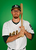 Eric Sogard of the Oakland Athletics poses for a portrait during the spring training photo day at HoHoKam Stadium on February 28 2015 in Mesa Arizona