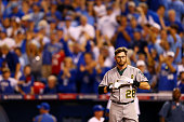 Eric Sogard of the Oakland Athletics reacts after striking out in the second inning against Kansas City Royals during the American League Wild Card...