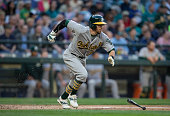 Eric Sogard of the Oakland Athletics runs to first base during an atbat in a game against the Seattle Mariners at Safeco Field on May 8 2015 in...