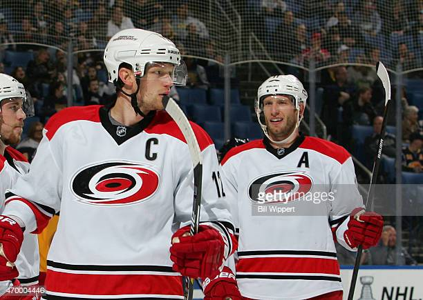 Eric Staal and Jordan Staal of the Carolina Hurricanes celebrate a goal against the Buffalo Sabres on April 6 2015 at the First Niagara Center in...