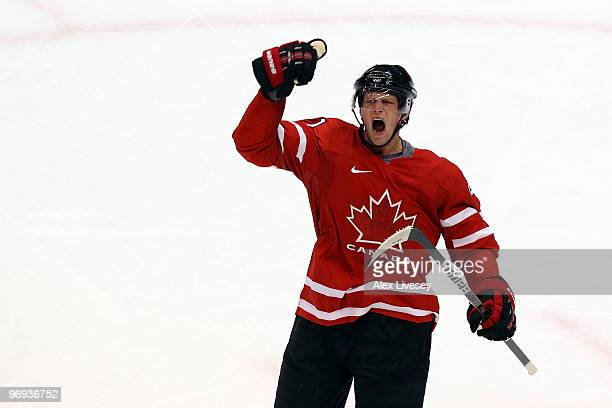 Eric Staal of Canada celebrates after he scored a first period goal during the ice hockey men's preliminary game between Canada and USA on day 10 of...