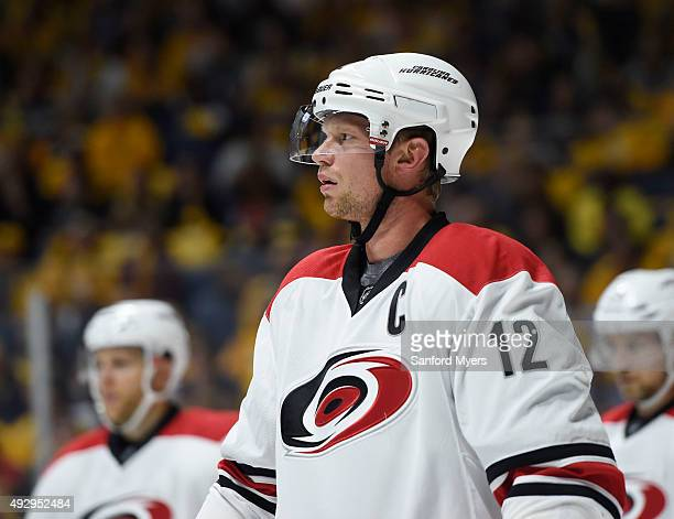 Eric Staal of the Carolina Hurricanes at Bridgestone Arena on October 8 2015 in Nashville Tennessee