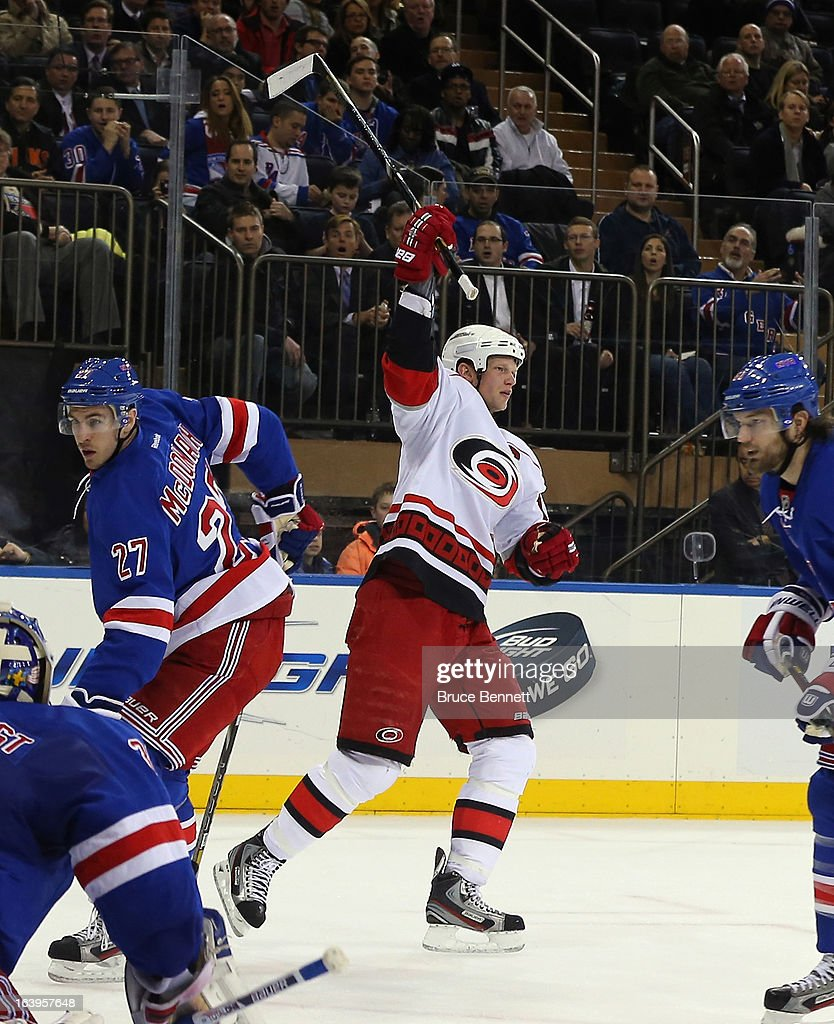 Eric Staal #12 of the Carolina Hurricanes celebrates his goal 19:09 of the first period the New York Rangers at Madison Square Garden on March 18, 2013 in New York City.