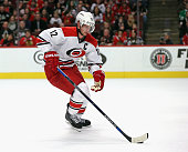 Eric Staal of the Carolina Hurricanes controls the puck against the Chicago Blackhawks at the United Center on December 27 2015 in Chicago Illinois...