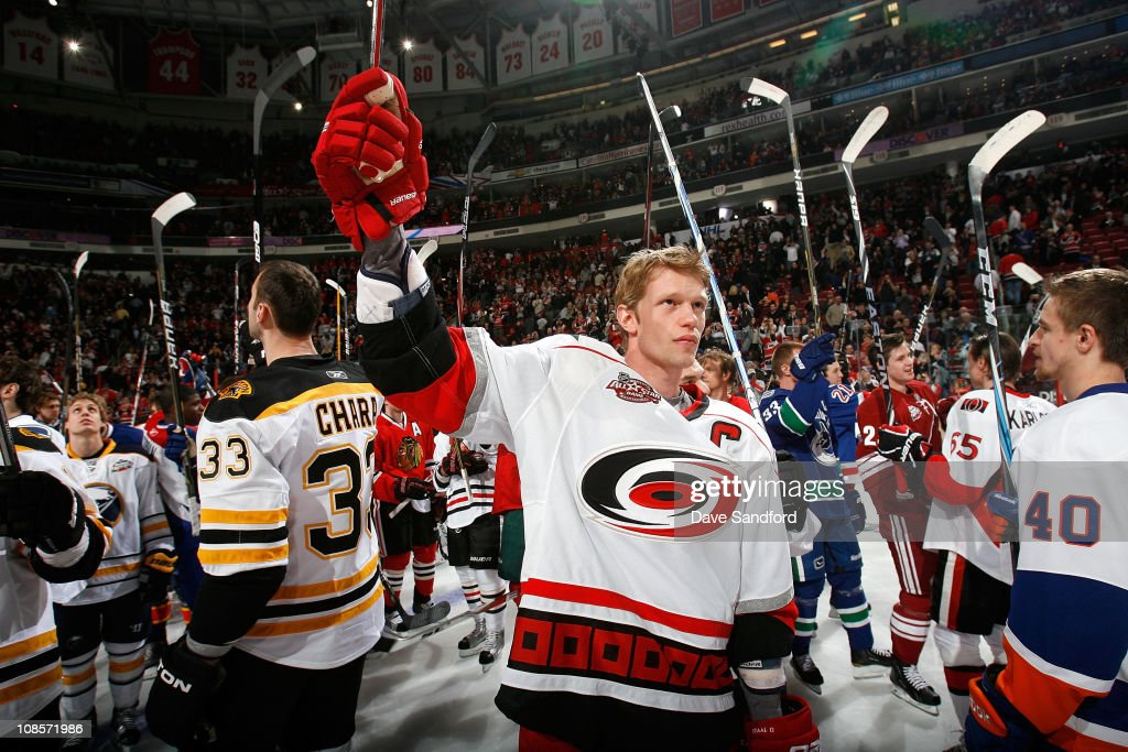 Eric Staal of the Carolina Hurricanes for team Staal acknowledges the fans after team Staal won the Honda NHL Superskills part of the 2011 NHL...