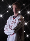 Eric Staal of the Carolina Hurricanes for Team Staal poses for a portrait before the 58th NHL AllStar Game at RBC Center on January 30 2011 in...