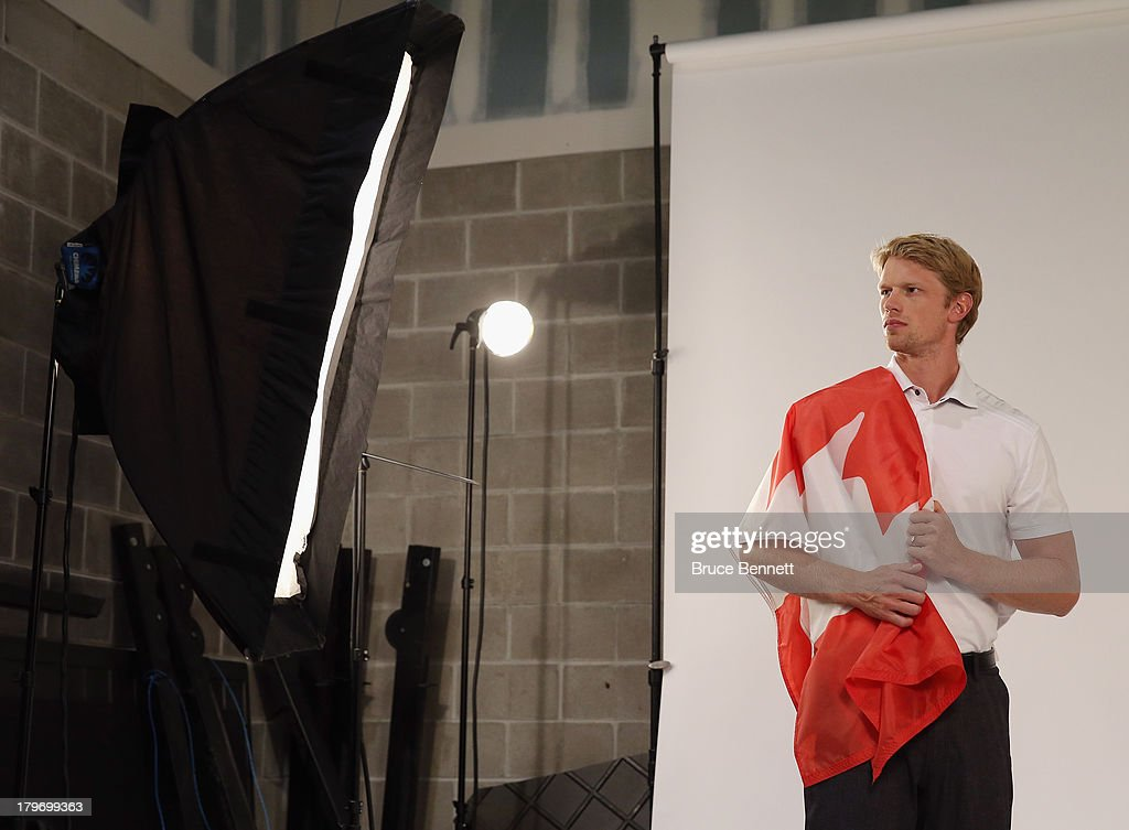 <a gi-track='captionPersonalityLinkClicked' href=/galleries/search?phrase=Eric+Staal&family=editorial&specificpeople=202199 ng-click='$event.stopPropagation()'>Eric Staal</a> of the Carolina Hurricanes is photographed in a portrait session during the National Hockey League Player Media Tour at the Prudential Center on September 6, 2013 in Newark, New Jersey.