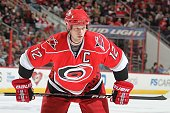 Eric Staal of the Carolina Hurricanes prepares for a faceoff during a NHL game against the Ottawa Senators on March 4 2010 at RBC Center in Raleigh...