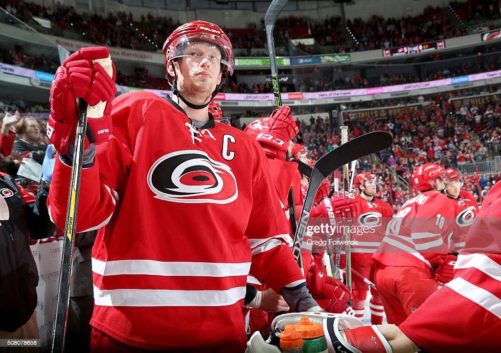 Eric Staal of the Carolina Hurricanes prepares to enter the ice following time out of an NHL game against the Chicago Blackhawks at PNC Arena on...
