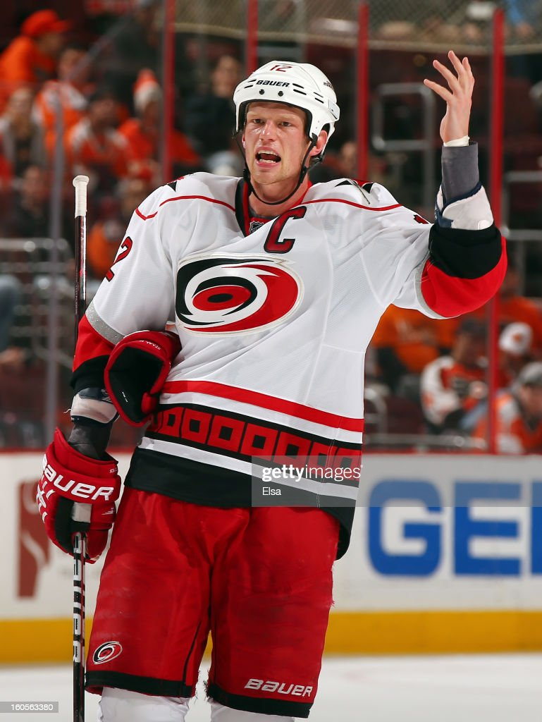 Eric Staal #12 of the Carolina Hurricanes reacts after a teammate was called for a penalty in the final minutes of the game against the Philadelphia Flyers on February 2, 2013 at the Wells Fargo Center in Philadelphia, Pennsylvania.The Philadelphia Flyers defeated the Carolina Hurricanes 5-3.