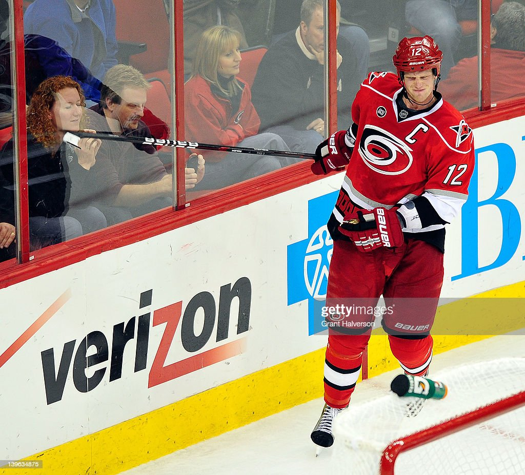 <a gi-track='captionPersonalityLinkClicked' href=/galleries/search?phrase=Eric+Staal&family=editorial&specificpeople=202199 ng-click='$event.stopPropagation()'>Eric Staal</a> #12 of the Carolina Hurricanes reacts after hitting the post during a shootout against the Anaheim Ducks at the RBC Center on February 23, 2012 in Raleigh, North Carolina. Anaheim won 3-2 in a shootout.
