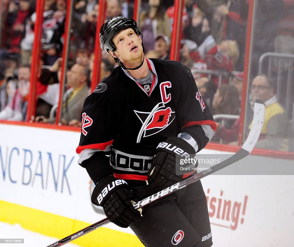 <a gi-track='captionPersonalityLinkClicked' href=/galleries/search?phrase=Eric+Staal&family=editorial&specificpeople=202199 ng-click='$event.stopPropagation()'>Eric Staal</a> #12 of the Carolina Hurricanes reacts after missing a penalty shot against Carey Price #31 the Montreal Canadiens during the second period at PNC Arena on March 7, 2013 in Raleigh, North Carolina.