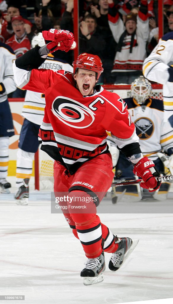 Eric Staal of the Carolina Hurricanes reacts to scoring his second goal againts the Buffalo Sabres during their NHL game at PNC Arena on January 24...