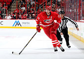 Eric Staal of the Carolina Hurricanes skates across the bluline during an NHL game against the New Jersey Devils at PNC Arena on December 26 2015 in...