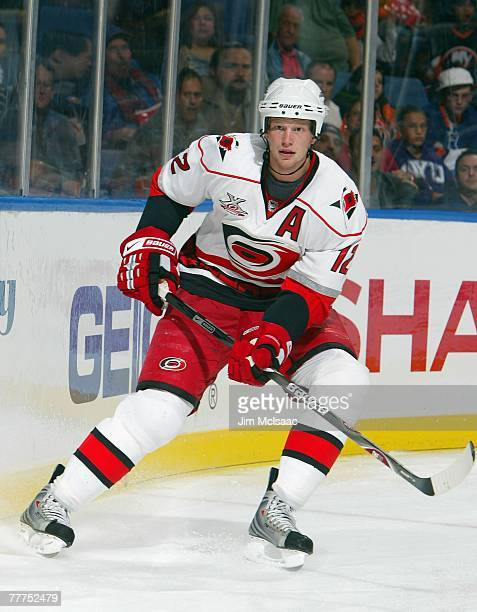 Eric Staal of the Carolina Hurricanes skates against the New York Islanders during their game at Nassau Coliseum October 27 2007 in Uniondale New York