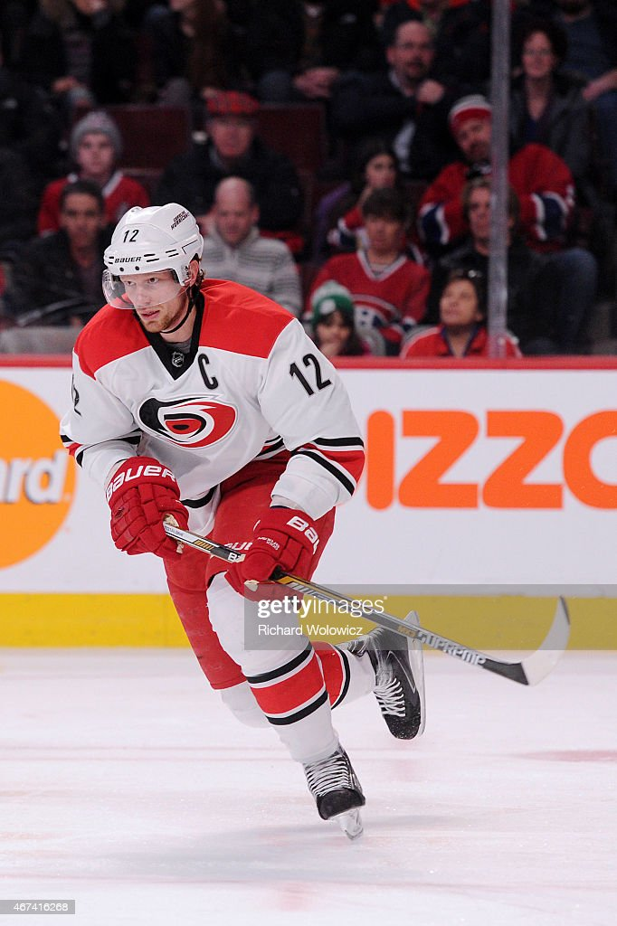 Eric Staal of the Carolina Hurricanes skates during the NHL game against the Montreal Canadiens at the Bell Centre on March 19 2015 in Montreal...