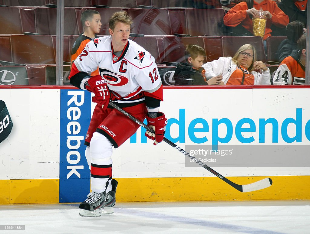 Eric Staal #12 of the Carolina Hurricanes skates during warm ups prior to the game against the Philadelphia Flyers on February 9, 2013 at the Wells Fargo Center in Philadelphia, Pennsylvania.