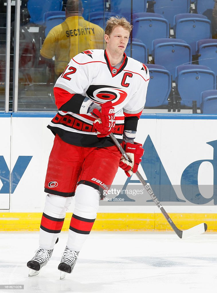 Eric Staal #12 of the Carolina Hurricanes skates during warm-ups prior to the game against the New York Islanders at Nassau Veterans Memorial Coliseum on February 11, 2013 in Uniondale, New York. The Hurricanes defeated the Islanders 6-4.