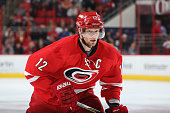 Eric Staal of the Carolina Hurricanes skates for position on the ice during an NHL game against the San Jose Sharks at PNC Arena on February 19 2016...