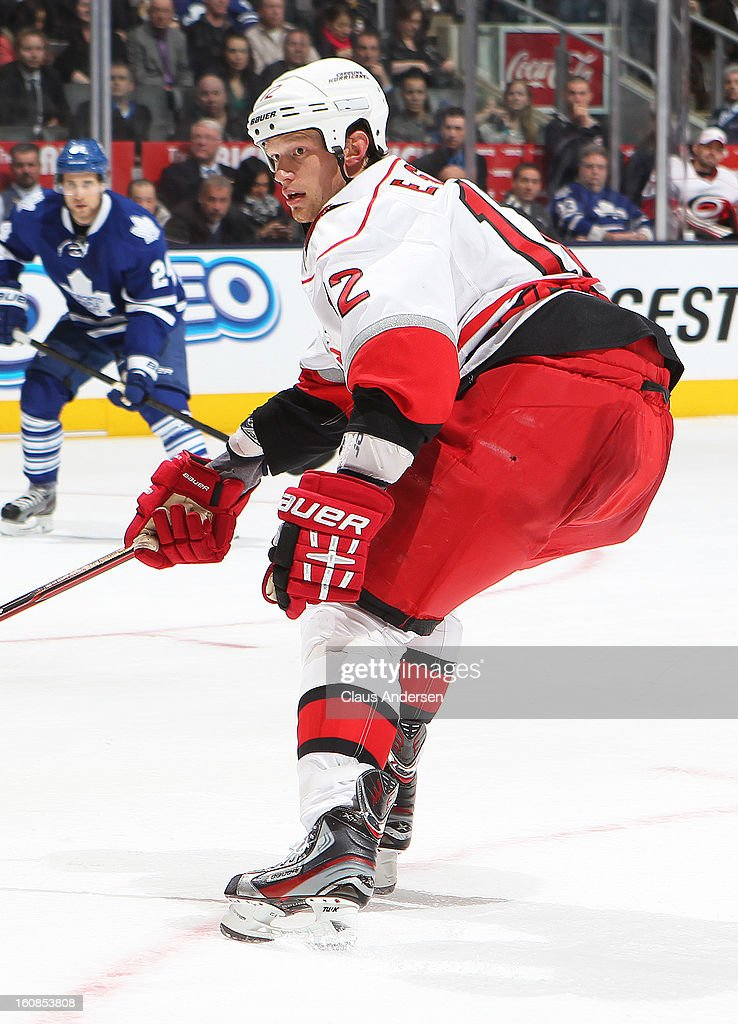 Eric Staal #12 of the Carolina Hurricanes skates in a game against the Toronto Maple Leafs on February 4, 2013 at the Air Canada Centre in Toronto, Canada. The Hurricanes defeated the Leafs 4-1.