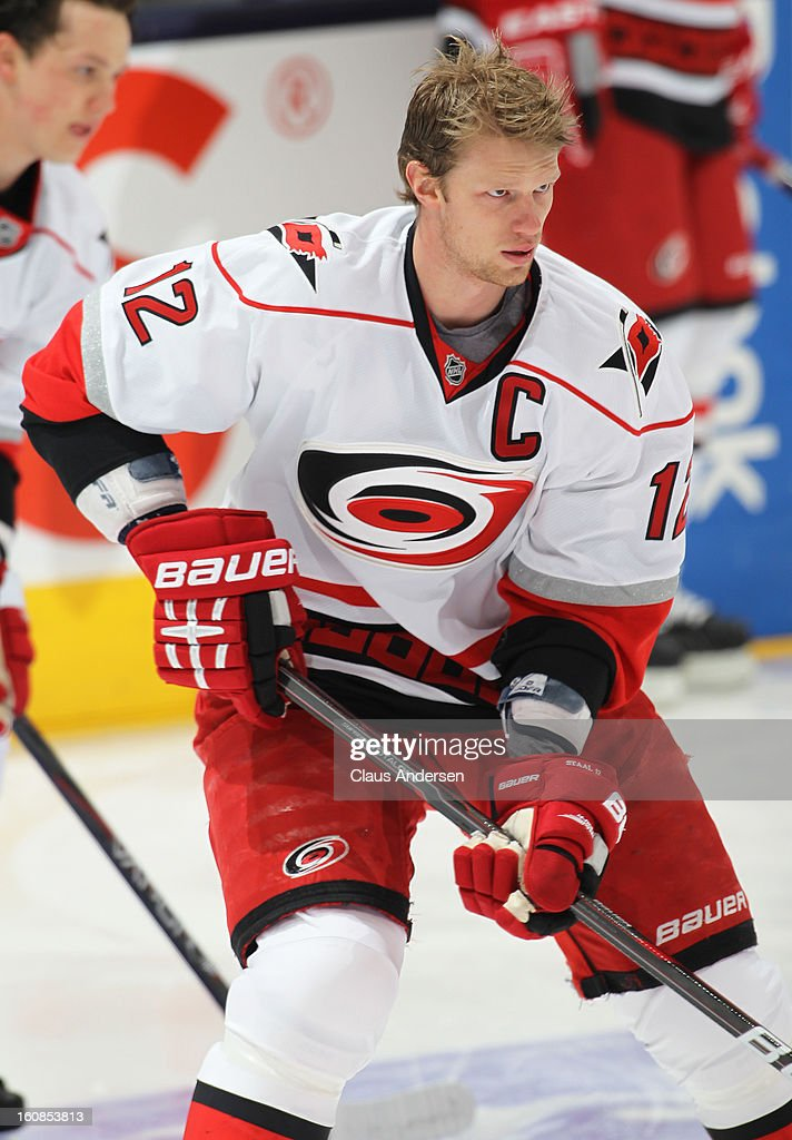 Eric Staal #12 of the Carolina Hurricanes skates in the warm-up prior to a game against the Toronto Maple Leafs on February 4, 2013 at the Air Canada Centre in Toronto, Canada. The Hurricanes defeated the Leafs 4-1.