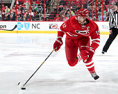 Eric Staal of the Carolina Hurricanes skates with the puck during their NHL game against the Ottawa Senators at PNC Arena on March 17 2015 in Raleigh...