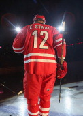 Eric Staal of the Carolina Hurricanes takes the ice during introductions prior to their NHL game against the Detroit Red Wings on October 4 2013 at...
