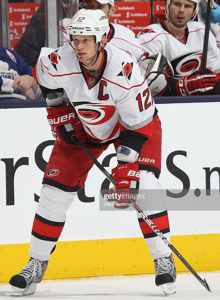 Eric Staal #12 of the Carolina Hurricanes waits for a faceoff in a game against the Toronto Maple Leafs on February 4, 2013 at the Air Canada Centre in Toronto, Canada. The Hurricanes defeated the Leafs 4-1.