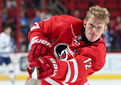 Eric Staal of the Carolina Hurricanes warms up prior to an NHL game against the Tampa Bay Lightning at PNC Arena on February 21 2016 in Raleigh North...