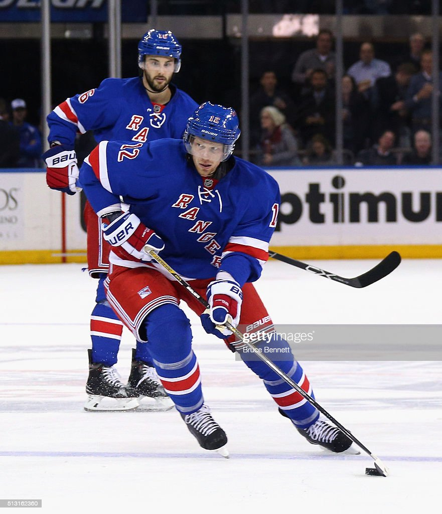 Eric Staal #12 of the New York Rangers skates against the Columbus Blue Jackets at Madison Square Garden on February 29, 2016 in New York City. The Rangers defeated the Blue Jackets 2-1.
