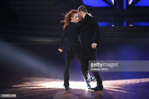 Eric Stehfesta and Oana Nechiti perform on stage during the 8th show of the television competition 'Let's Dance' on May 6 2016 in Cologne Germany
