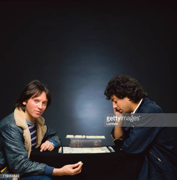 Eric Stewart and Graham Gouldman of British art rock pop band 10cc playing Scrabble 17th November 1981