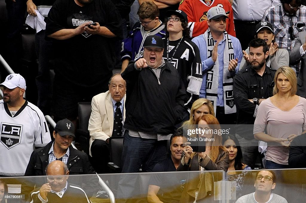 Eric Stonestreet watches the game between the Los Angeles Kings and the Chicago Blackhawks in Game Six of the Western Conference Final during the 2014 Stanley Cup Playoffs at Staples Center on May 30, 2014 in Los Angeles, California.