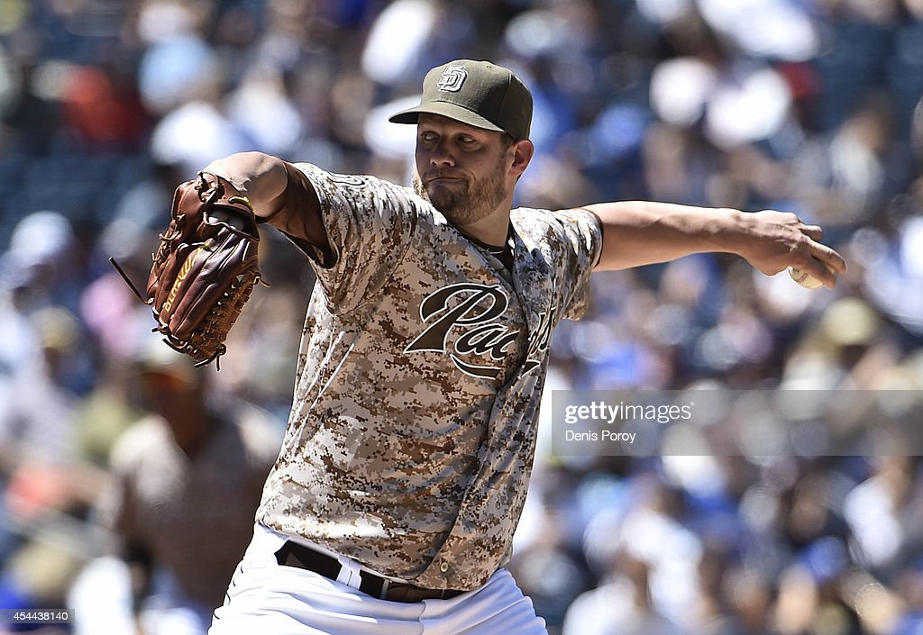 <a gi-track='captionPersonalityLinkClicked' href=/galleries/search?phrase=Eric+Stults&family=editorial&specificpeople=835931 ng-click='$event.stopPropagation()'>Eric Stults</a> #53 of the San Diego Padres pitches during the first inning of a baseball game against the Los Angeles Dodgers at Petco Park August, 31, 2014 in San Diego, California.