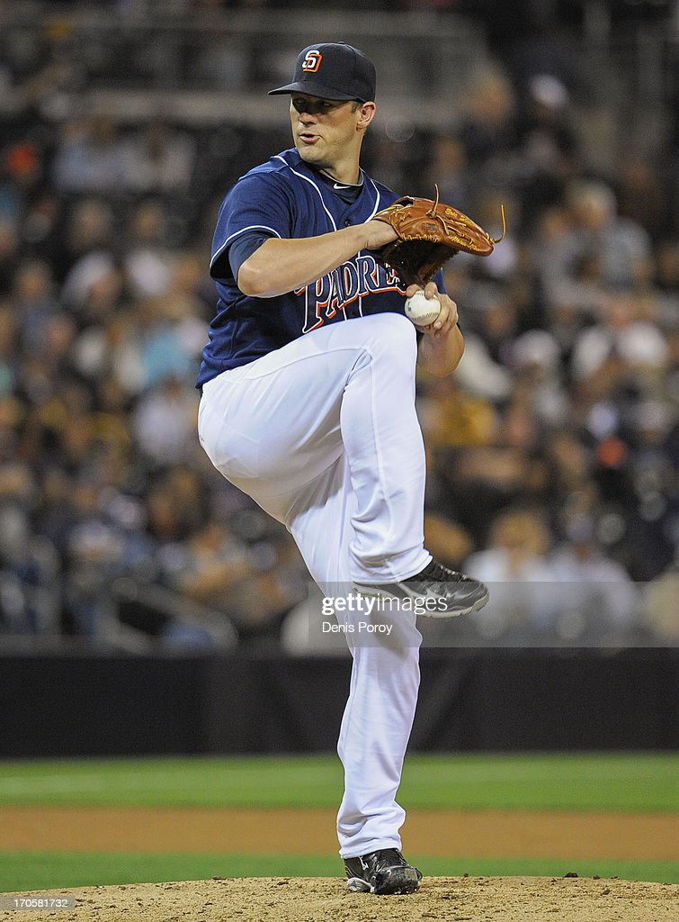 Eric Stults #53 of the San Diego Padres pitches during the seventh inning of a baseball game against the San Diego Padres at Petco Park on June 14, 2013 in San Diego, California.