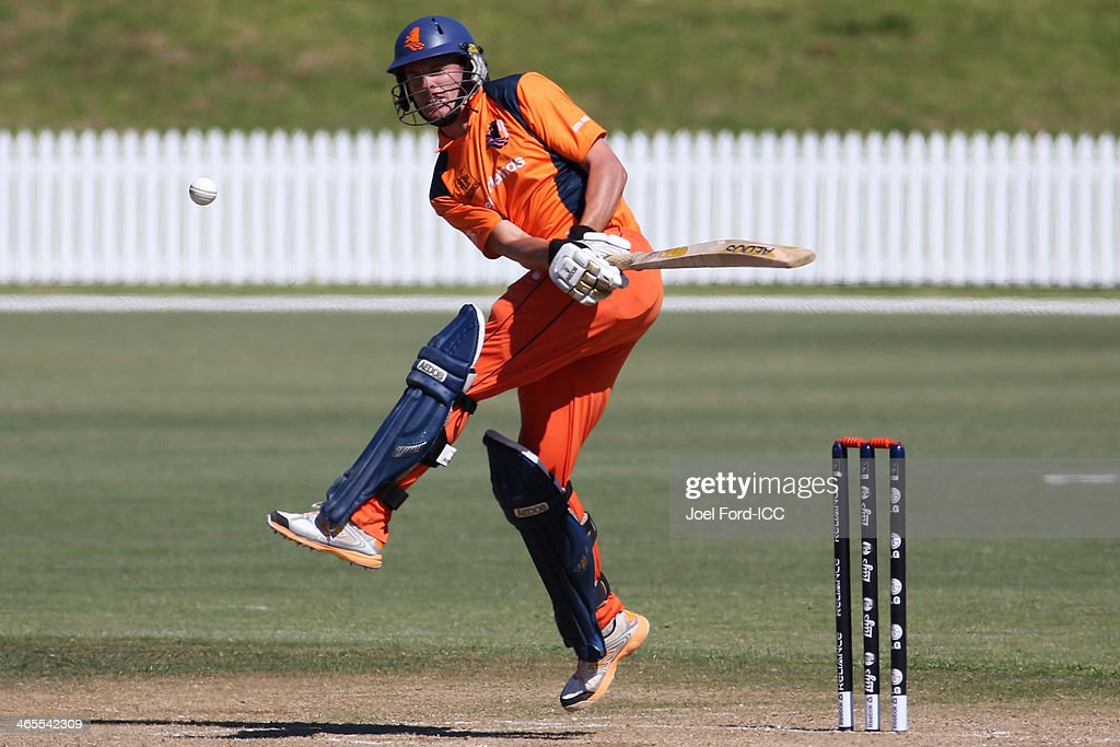 Eric Szwarczynski of The Netherlands plays a shot during an ICC World Cup qualifying playoff between The Netherlands and Canada on January 28, 2014 in Mount Maunganui, New Zealand.